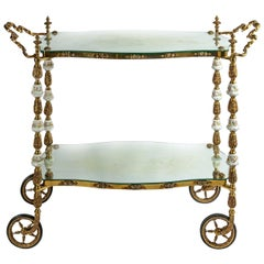 19th Century Italian Handmade Bronze Serving Table, Cart with Capodimonte