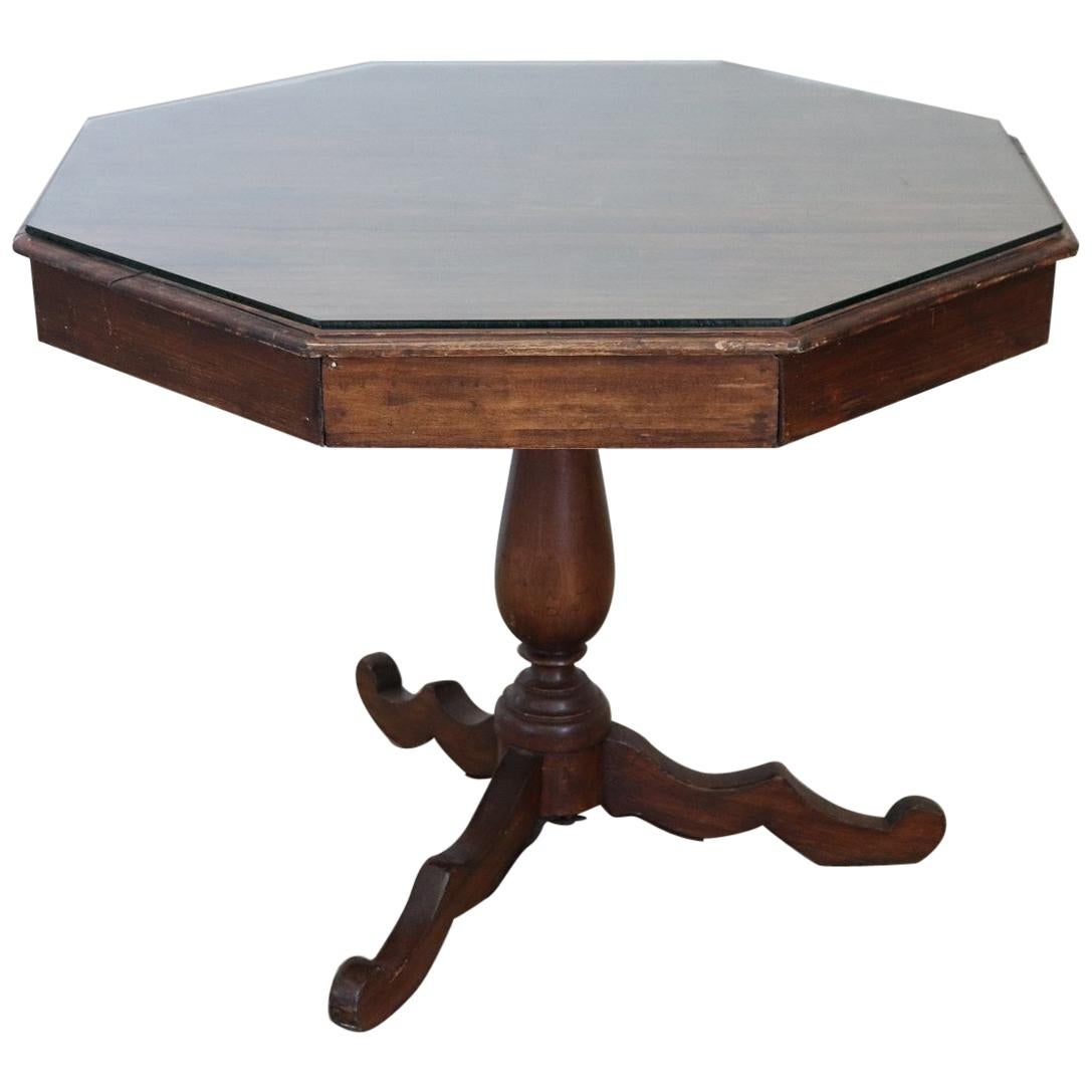 19th Century Italian Hexagonal Center Table or Pedestal Table with Glass Top