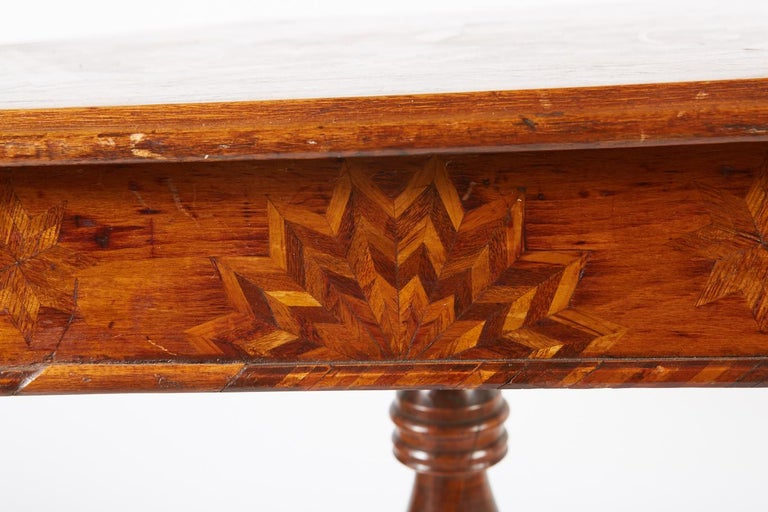 Hand-Crafted 19th Century Italian Hexagonal Parquetry Table For Sale