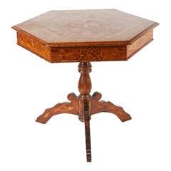 19th Century Italian Hexagonal Parquetry Table