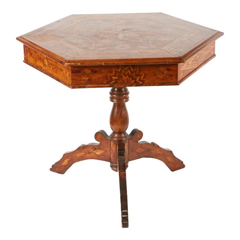 19th Century Italian Hexagonal Parquetry Table For Sale