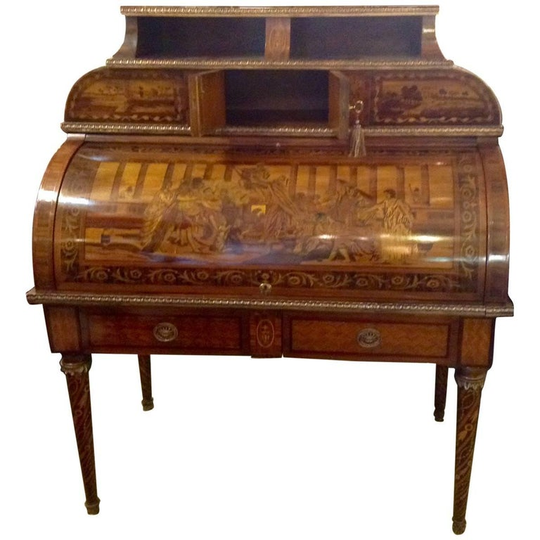 19th Century Italian Inlaid Secretary Desk