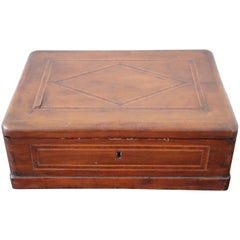 19th Century Italian Inlaid Walnut Coffer or Jewelry Box
