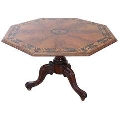 19th Century Italian Inlaid Walnut Octagonal Extendable Dining Room Table