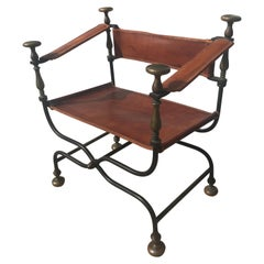 19th Century Italian Iron, Bronze and Leather Savonarola Dante Or Curule Chair