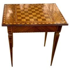 19th Century Italian Kingwood, Maple and Mahogany Checker Board Side Table
