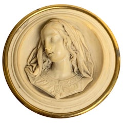 19th Century Italian Lava Stone Cameo of the Virgin Mary Paperweight