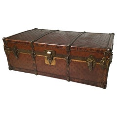 19th Century Italian Leather Steamer Trunk