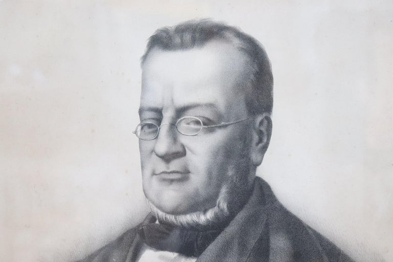 19th Century Italian Lithography Important Italian Politician Count of Cavour In Excellent Condition For Sale In Bosco Marengo, IT