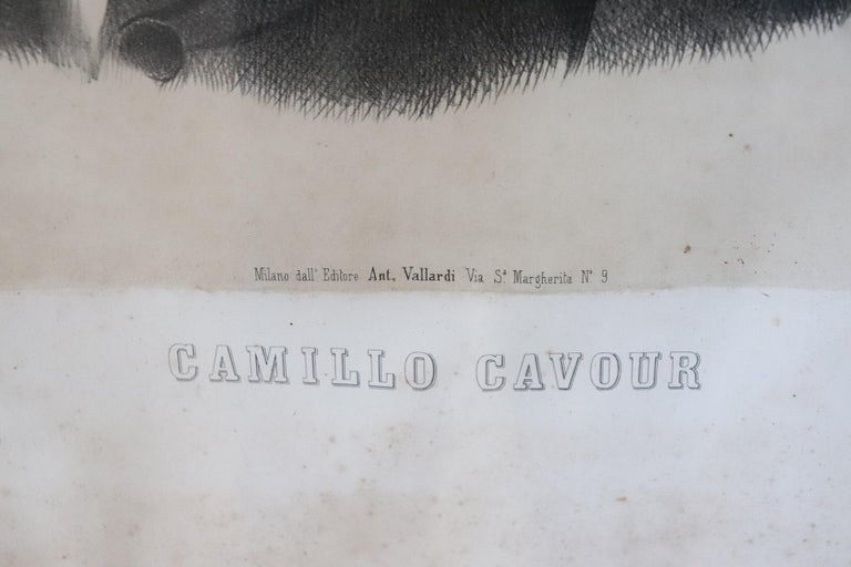 Paper 19th Century Italian Lithography Important Italian Politician Count of Cavour For Sale