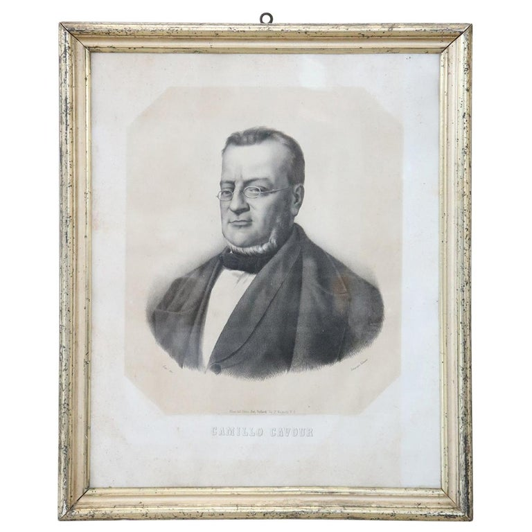 19th Century Italian Lithography Important Italian Politician Count of Cavour For Sale