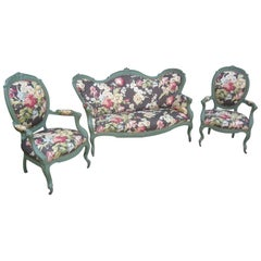 19th Century Italian Living Room Set in Lacquered Wood Floral Upholstered, 1890s