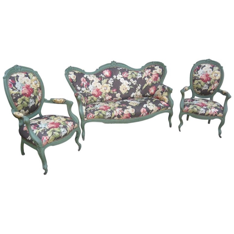 Floral Living Room Sets: 19th Century Italian Living Room Set In Lacquered Wood