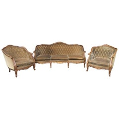 19th Century Italian Living Room Set with Sofa and Armchairs, Original Fabric