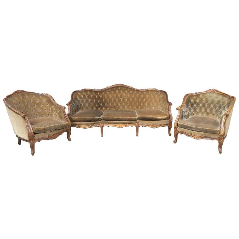 19th Century Italian Living Room Set with Sofa and Armchairs ...