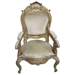 19th Century Italian Louis Philippe Carved and Gilded Wood Antique Armchair