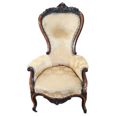 19th Century Italian Louis Philippe Carved Walnut and Rosewood Armchair