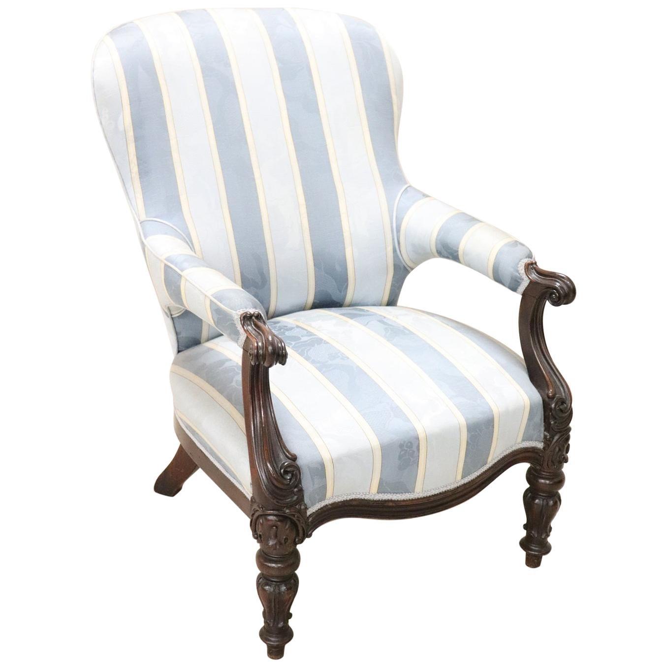 19th Century Italian Louis Philippe Carved Walnut Armchair