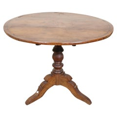 19th Century Italian Louis Philippe Walnut Inlay Tilt-Top Round Table