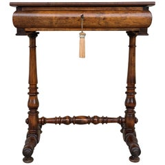 19th Century Italian Louis Philippe Walnut Sewing Table, Side Table with Drawer