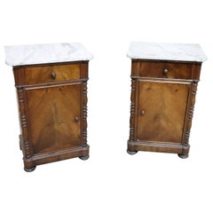 19th Century Italian Louis Philippe Walnut with Marble Top Pair of Nightstand