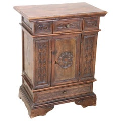 19th Century Italian Louis XIV Style Carved Walnut Side Table or Nightstand