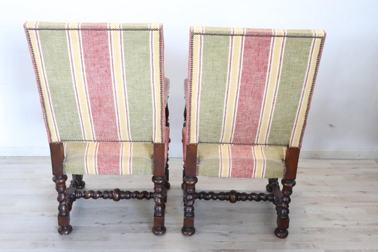Mid-20th Century 19th Century Italian Louis XIV Style Turned Walnut Pair of Armchairs For Sale