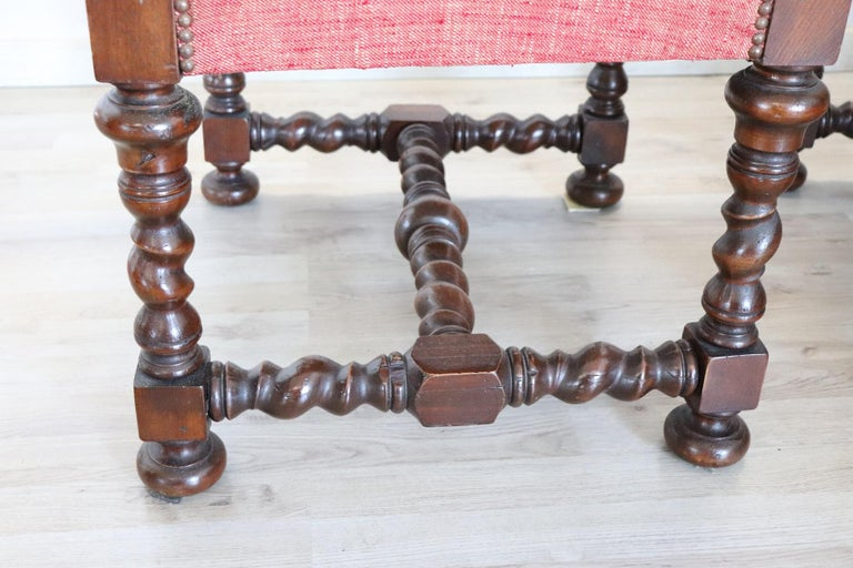 19th Century Italian Louis XIV Style Turned Walnut Pair of Armchairs For Sale 2