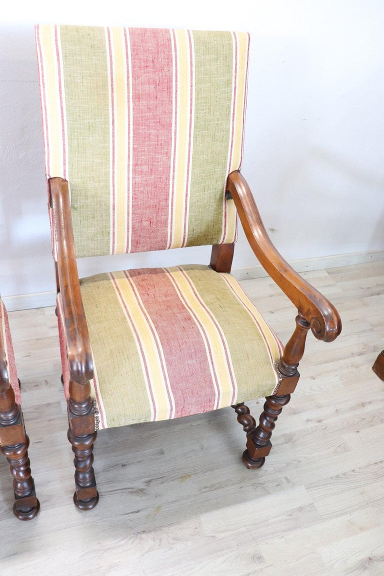 19th Century Italian Louis XIV Style Turned Walnut Pair of Armchairs For Sale 4