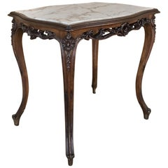 19th Century Italian Louis XV Marble-Top End Table
