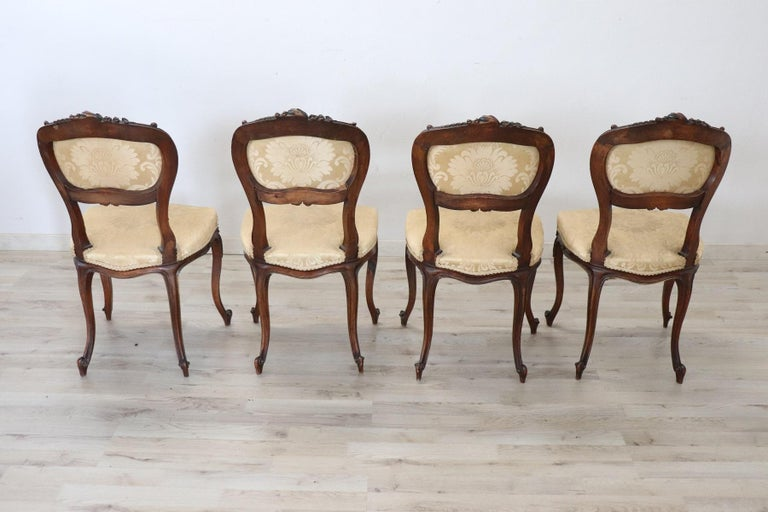 19th Century Italian Louis XV Style Carved Walnut Four Chairs 6