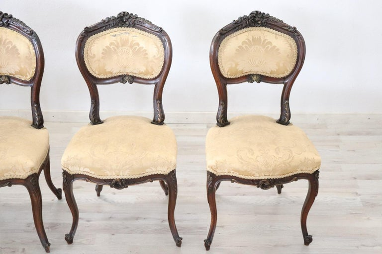 19th Century Italian Louis XV Style Carved Walnut Four Chairs In Fair Condition In Bosco Marengo, IT