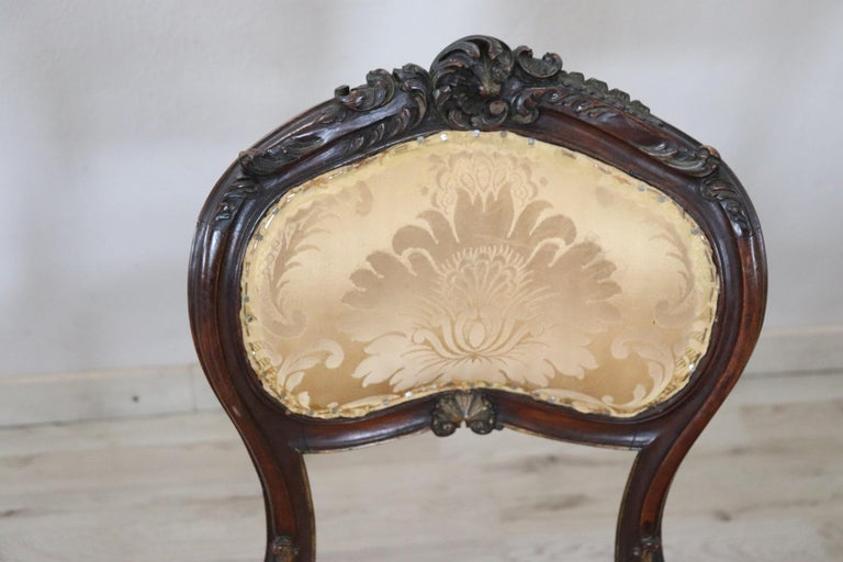 19th Century Italian Louis XV Style Carved Walnut Four Chairs 1