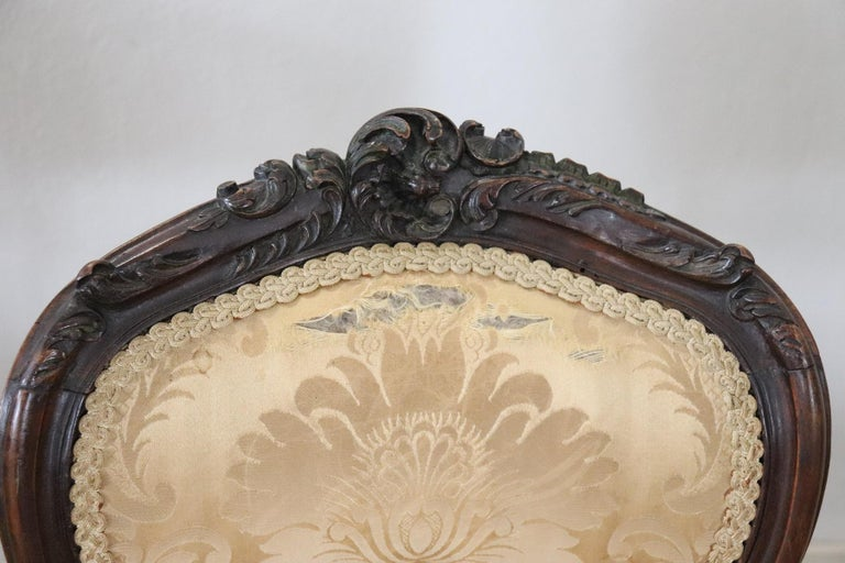 19th Century Italian Louis XV Style Carved Walnut Four Chairs 2
