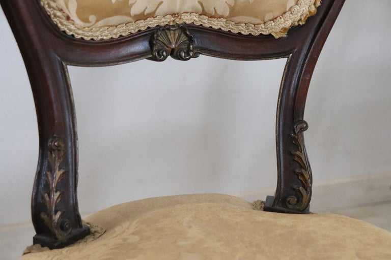 19th Century Italian Louis XV Style Carved Walnut Four Chairs 3