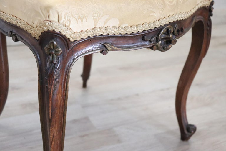 19th Century Italian Louis XV Style Carved Walnut Four Chairs 4