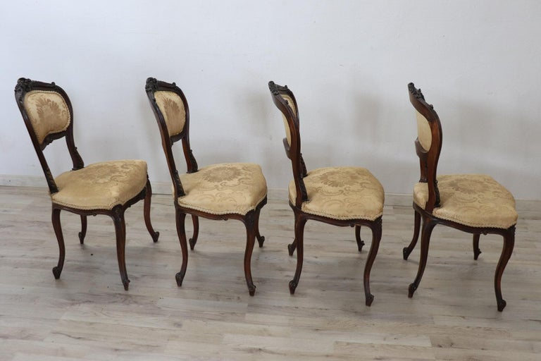 19th Century Italian Louis XV Style Carved Walnut Four Chairs 5