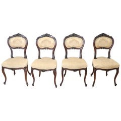 19th Century Italian Louis XV Style Carved Walnut Four Chairs