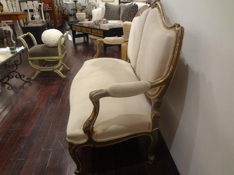 19th Century Italian Louis XV Style Giltwood Loveseat For Sale 1