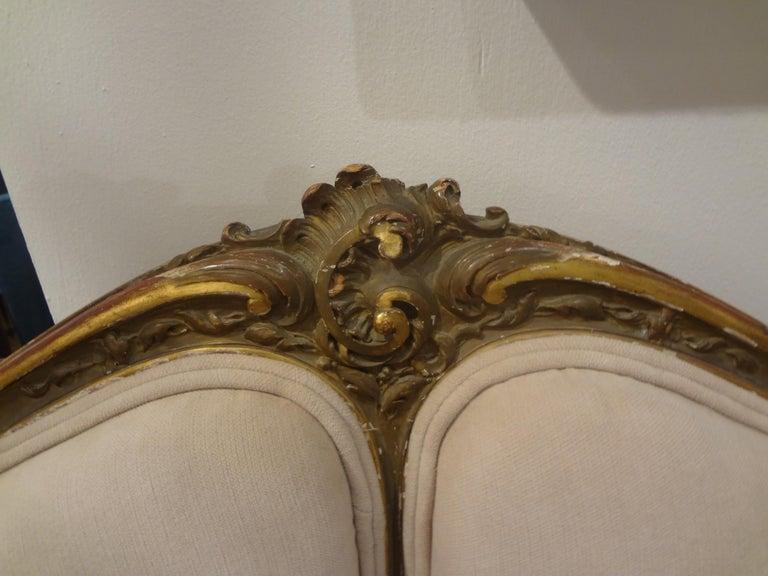 19th Century Italian Louis XV Style Giltwood Loveseat For Sale 2
