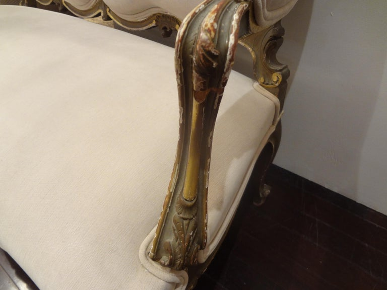 19th Century Italian Louis XV Style Giltwood Loveseat For Sale 3