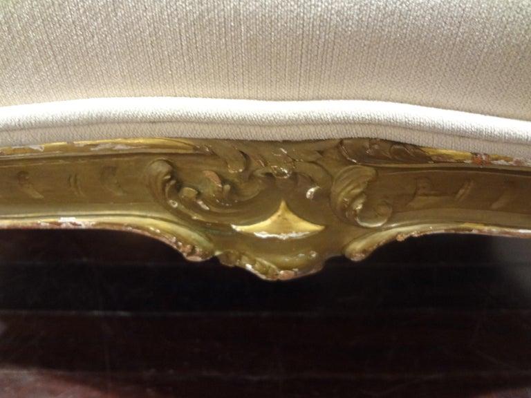 19th Century Italian Louis XV Style Giltwood Loveseat For Sale 4