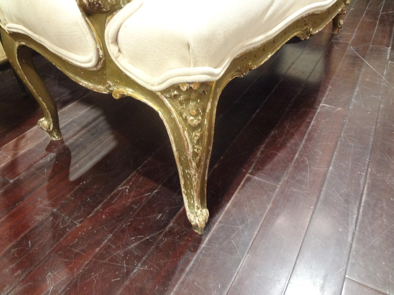 19th Century Italian Louis XV Style Giltwood Loveseat For Sale 5