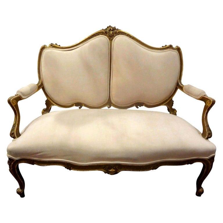 19th Century Italian Louis XV Style Giltwood Loveseat For Sale