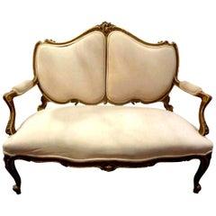19th Century Italian Louis XV Style Giltwood Loveseat