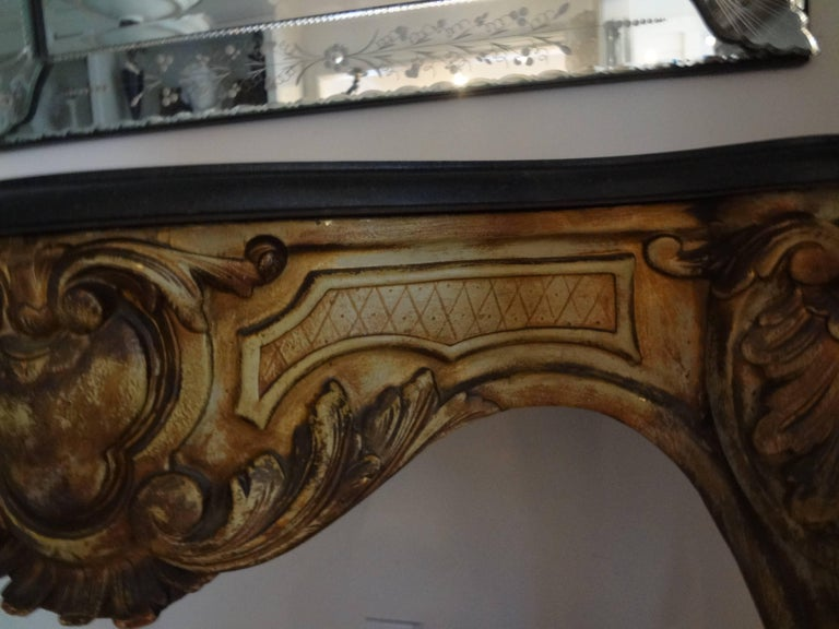19th Century Italian Louis XV Style Painted Console with a Marble Top For Sale 3