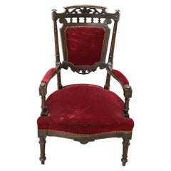 19th Century Italian Louis XVI Carved Walnut Armchair