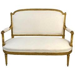 19th Century Italian Louis XVI Gilded Setttee