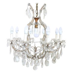 19th Century Italian Louis XVI Style Bronze and Crystals Chandelier