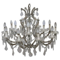 19th Century Italian Louis XVI Style Bronze and Crystals Large Chandelier